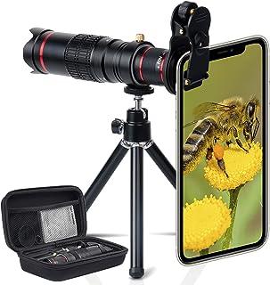 高画質 スマホ望遠レンズ クリップ式レンズ iphone 望遠レンズ 22倍望遠レンズ ミニ三脚付 収納バック付きiPhone/Androidの多機種に対応 携帯カメラ 単眼鏡として使える 三脚付き (ブラック)
