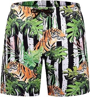 XIELH Shorts Summer 3D Printed Beach Pants Home Plus Size Loose Pants 3D Tiger Print Beach Shorts
