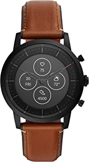 Men's 42MM Collider HR Heart Rate Stainless Steel and Leather Hybrid HR Smart Watch, Color: Collider - Black/Brown (Model: FTW7007)