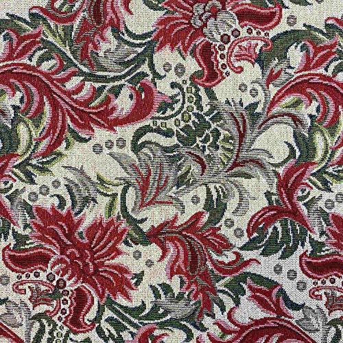 Tela por metros de tapicería - Jacquard Gobelino - Ancho 280 cm - Largo a elección de 50 en 50 cm | Damasco - Rojo, verde, beige