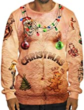 Usstore 👕 Men Funny Sexy Christmas 3D Print Long Sleeve O Neck Broadcloth Pullovers Blouse for Party Sweatshirt
