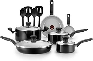 T-fal G917SE64 Initiatives Ceramic Nonstick Dishwasher Safe Toxic Free 14-Piece Cookware Set, Black
