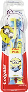 Colgate Kids Minions Extra Soft Bristles Manual Toothbrush for Children 6+ Years Value 2 Pack Colours May Vary