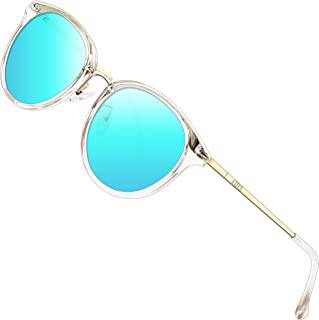 Fashion Round Sunglasses for Women Polarized UV Protection Metal frame