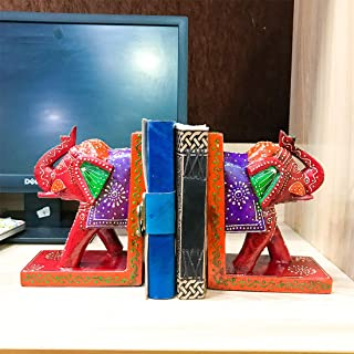 APKAMART Handcrafted Elephant Bookend - Set of 2 - Handicraft Book Holders Cum Decoratives for Shelves, Table Decor, Home ...