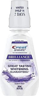 Crest 3D White Brilliance Alcohol Free Whitening Mouthwash Clean Mint 16.9 fl oz