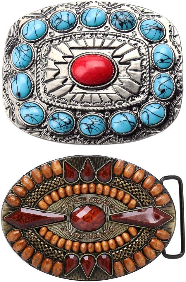P Prettyia 2 Piezas Hebilla de Cinturón de Reemplazo Estilo de Nativo Americano Indio Aleación de Zinc para Pantalones de Hombres - Estilo 4