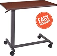 Adjustable Overbed Table - Non-Tilt Mobile Bedside Desk Tray with Swivel Caster Wheels - Serve Meals, Use Laptop/Computer, Writing - Great for Elderly, Hospital Patients, Home Care -Hospital Bed Table