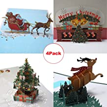 3D Pop Up Christmas Cards - 4 Pack Blank Greeting Holiday Cards & Envelopes New Year Handmade Gifts Xmas Deer Santa Bells Tree