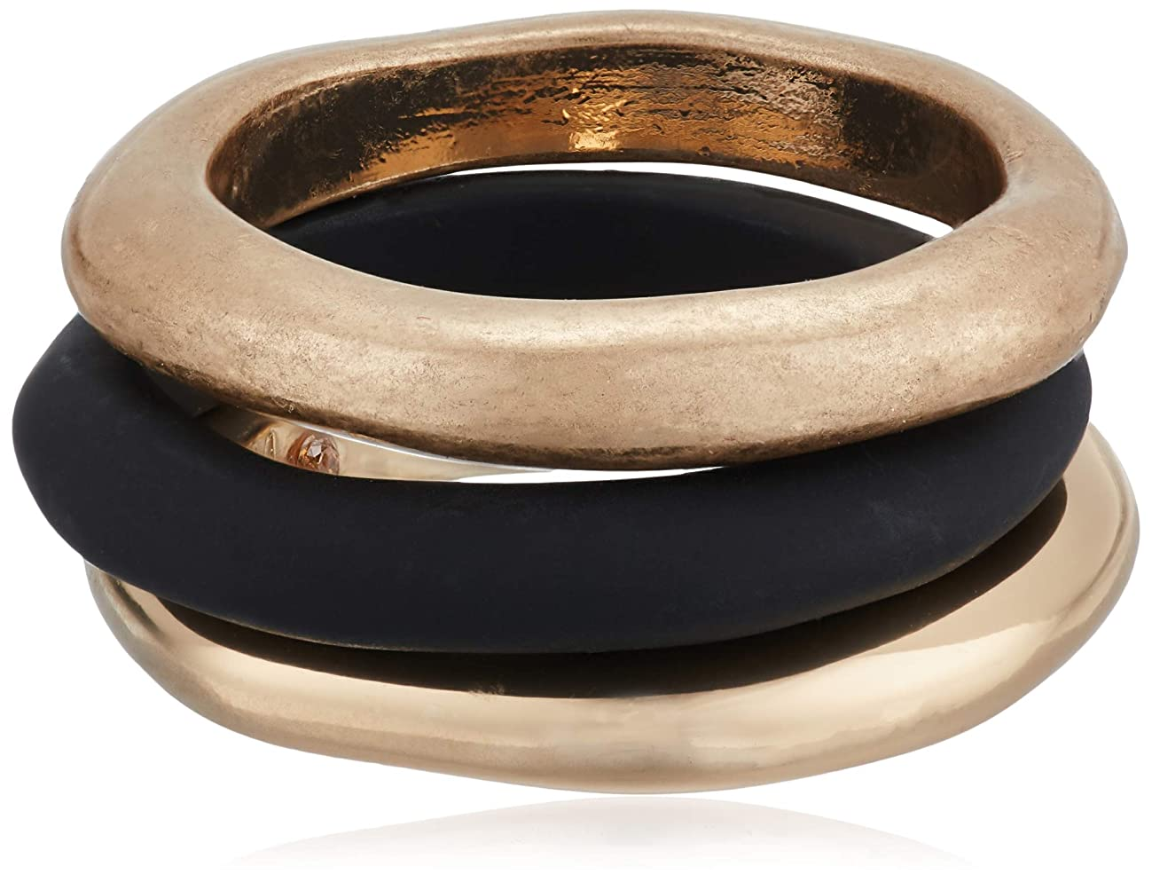 Robert Lee Morris Soho Women's Black Patina & Gold Sculptural Stackable Ring Set Size 8.5, One Size