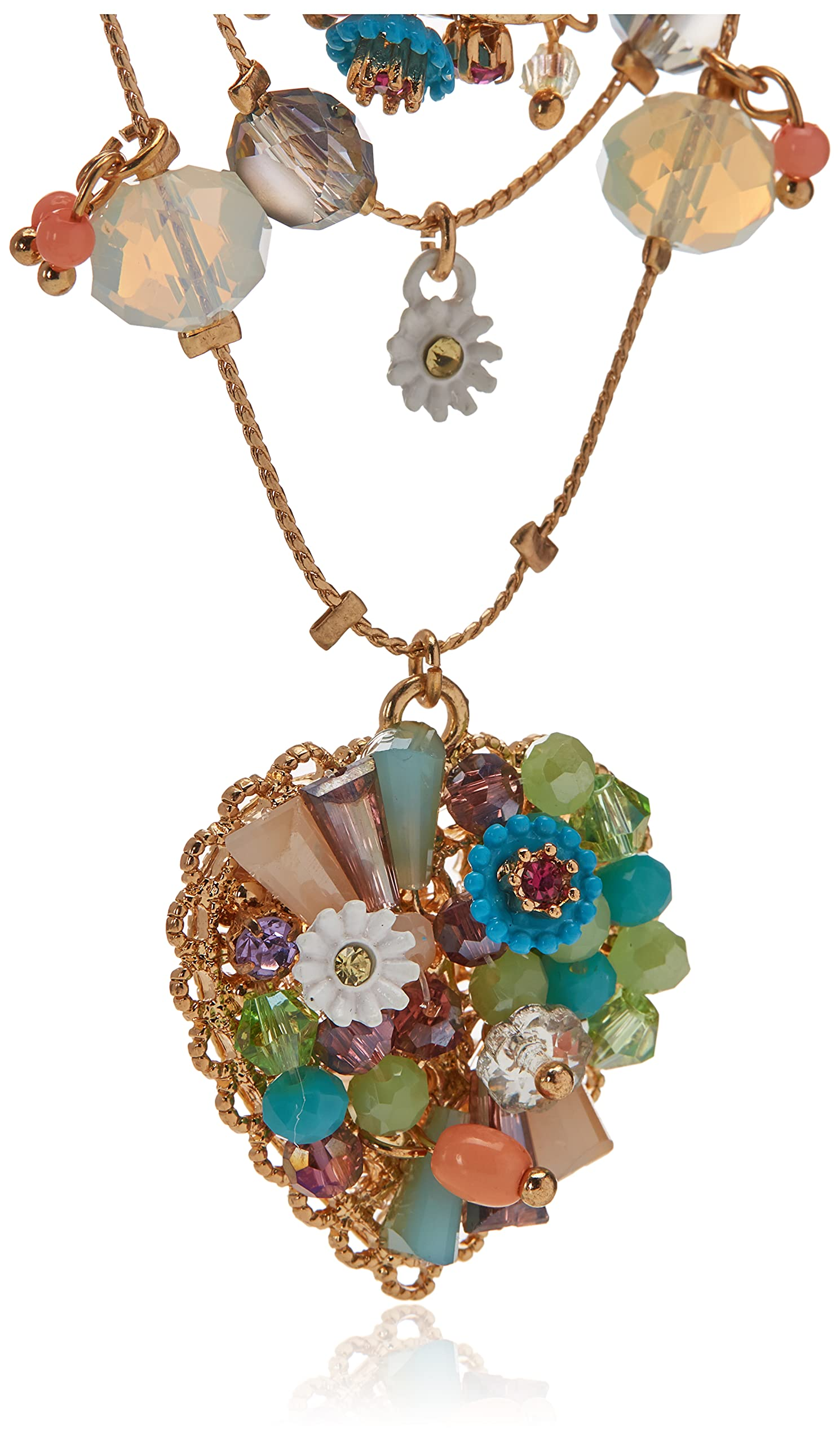 Betsey Johnson Woven Mixed Multi-Colored Bead Flower Heart Illusion Necklace