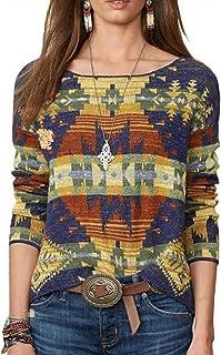 keepmore T-Shirt O-Collo Manica Lunga con Motivo Etnico retrò Lavorato a Maglia da Donna