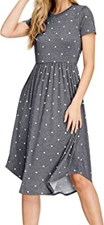 Simier Fariry Women's Modest Polka Dots Swing Casual Dress with Pocket