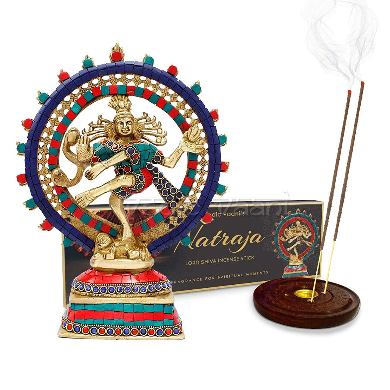 見通し最大ベッツィトロットウッドVedic Vaani Dancing Lord Shiva Natraj Murti Idol with Natraj お香スティック