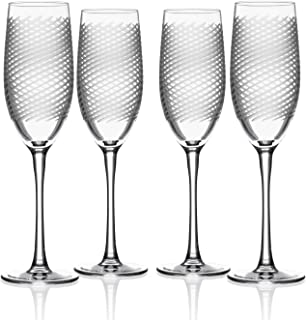 Rolf Glass Cyclone Champagne Flute Glass 8 Ounce - Set of 4 Toasting Flute Glasses - Lead-Free Crystal Glasses - Engraved Flute Glasses - Made in the USA