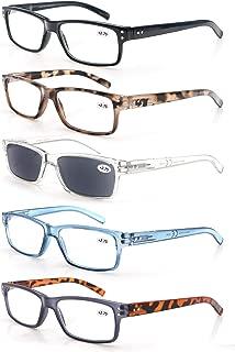 5-Pack Reading Glasses Mens/Womens,Readers Comfort Spring Hinges,Sun Reader