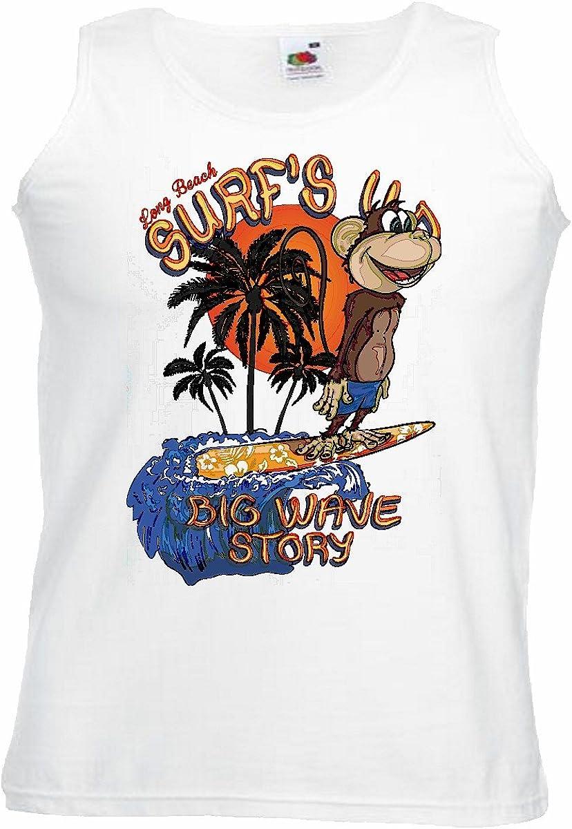 Camisa del músculo Tank Top Big Wave Historia Divertida Mono ...