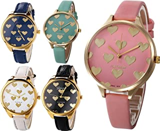 Yunanwa 5 Pack Wholesale Womens Heart Painted Leather Watches Assorted Platinum Wristwatches
