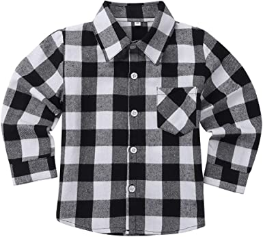 Freebily Camisa de Cuadros Algodón Infántil para Niños Niñas Blusa Top de Cuello Solapa Clásico Casual con Bolsillos