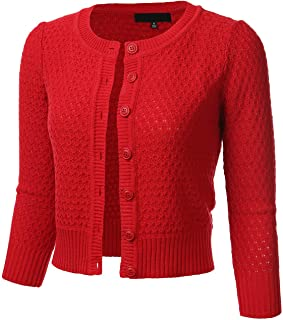 3e0bd95bedb FLORIA Women s Button Down 3 4 Sleeve Crew Neck Cotton Knit Cropped Cardigan  Sweater (