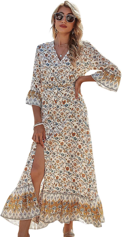 JASTIE Boho Floral Print Maxi Dress O-Neck Sleeveless Summer Dresses Hippie Beach Long Casual Women Dress