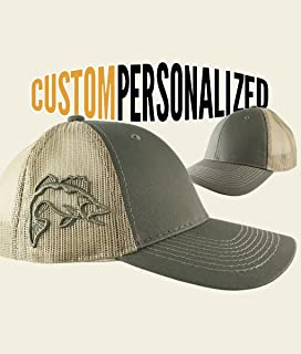 9b5fa588 Custom Personalized Walleye 3D Puff Embroidery on an Adjustable Full Fit  Olive Green Trucker Cap and