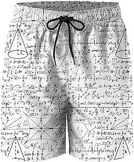e7757499d0 HOTZX Men Sporty Slim Fit Adjustable Swim Short-Geek Math Equations Style Beach  Shorts