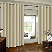Insulated Blackout Patio Door Slider Curtains, Extra Wide Thermal Vertical Blind Window Treatment Drapes for Hotel/Sliding Door, 100W by 84L Inches-Beige, One Panel