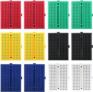 Electrely 12 Pezzi Mini Breadboard, 170 Tie-Punti Piccolo Senza Saldatura Sperimentazione Breadboard per Arduino UNO MEGA ...