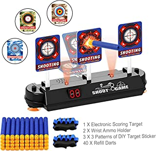 Fibevon Direct Electronic Scoring Targets for Nerf Gun, Digital Reset Shooting Targets for Mega/Rival Series with 3 Patterns of DIY Target Stickers