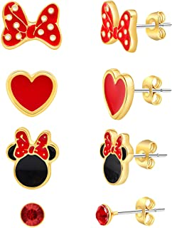Disney Mickey and Minnie Mouse Fashion Stud Earring Set - 3/4/5 Pairs Per Set