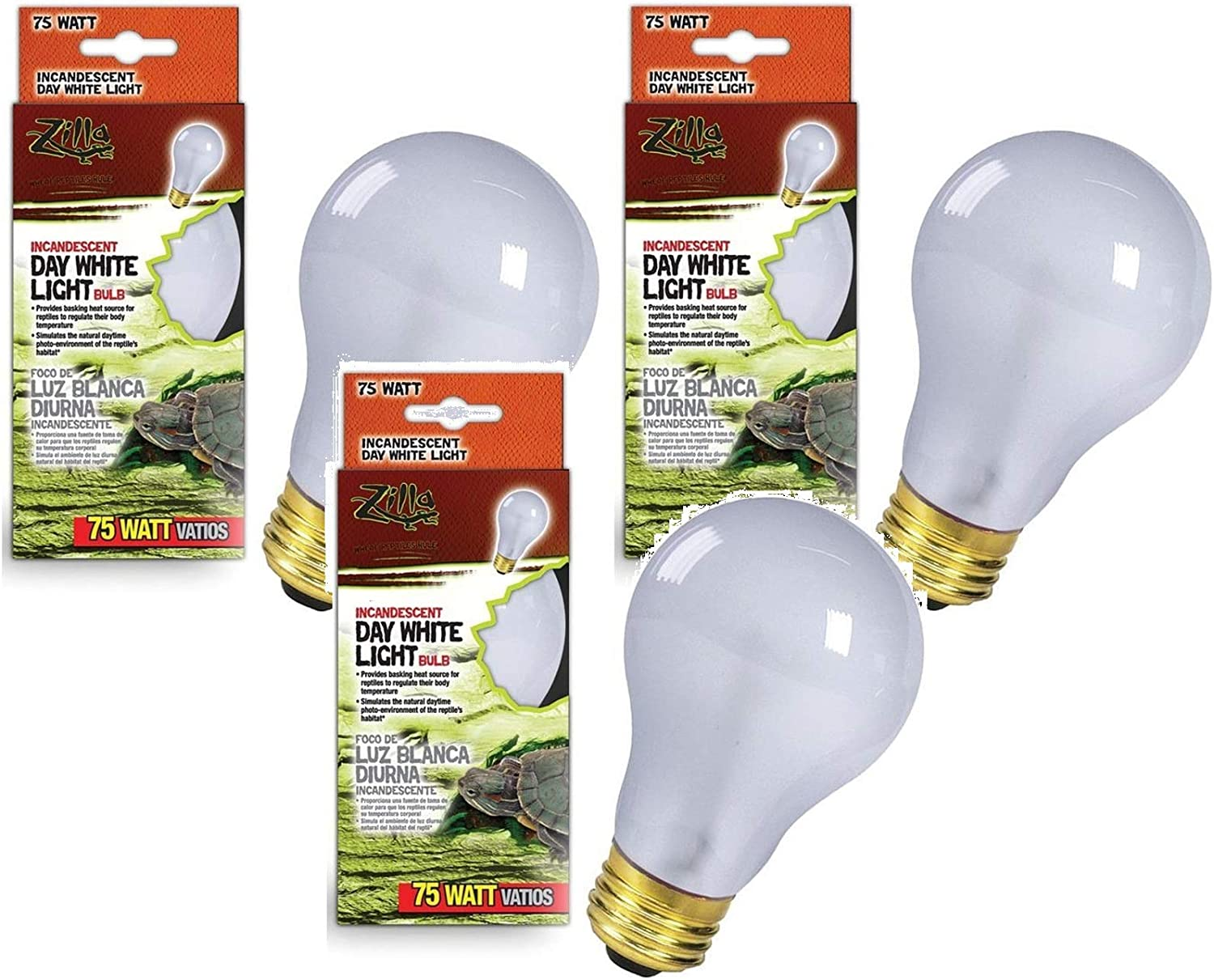 Popularity Zilla 3 Pack Incandescent Bulb Day 75 White Wat Light Heat Quality inspection