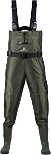 Fishing Chest Waders for Men with Boots - Breathable Nylon & PVC Waterproof Fly Fishing, Hunting Bootfoot Wader for Women - Comfortable Mens Fisherman Pants - Large Zippered Pocket & Knee Pads