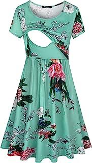 فستان Quinee Floral الأمومة، السيدات الصيف قصيرة الأكمام مغرفة الرقبة الملابس اليومية غير الرسمية للأمهات العارضة منتصف ال...