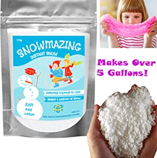 Snowmazing Premium Instant Snow Powder - Makes 5 Gallons - Just Add Water - Great for Cloud Slime Christmas Holiday Décor Artificial Faux Snow