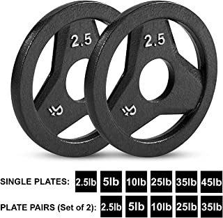 "Day 1 Fitness Cast Iron Olympic 2-Inch Grip Plate for Barbell, 2.5 Pound Single Plate Iron Grip Plates for Weightlifting, Crossfit - 2"" Weight Plate for Bodybuilding"