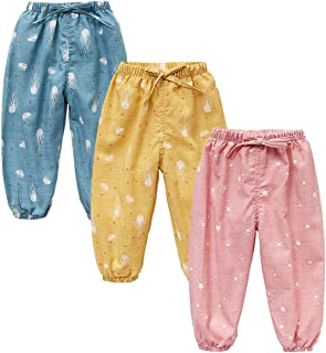 JELEUON 3 Pack of Little Kids Boys Girls Summer Spring Autumn Cotton Linen Printed Soft Trousers Casual Long Ankle Pants