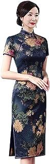 فساتين HangErFeng Qipao النسائية الحرير Qi Pao طباعة اللباس الصيني نمط زهري قصير الأكمام نحيف أزرق قصير Cheongsam