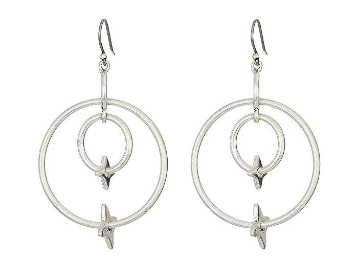 Lucky Brand  Star Double Hoop Earrings (Silver) Earring