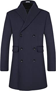 Men's Winter Wool Coats Blend Trench Long Top Pea Coat Slim Fit Double Breasted Classic Stylish Business Overcoat