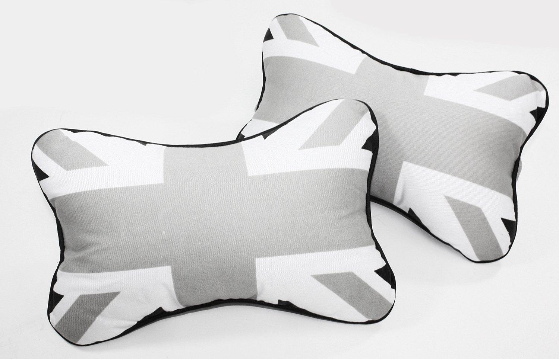 2 Union Jack UK Carbon Fiber Car Rest Cushion Seat Headrest Neck Pillow For MINI