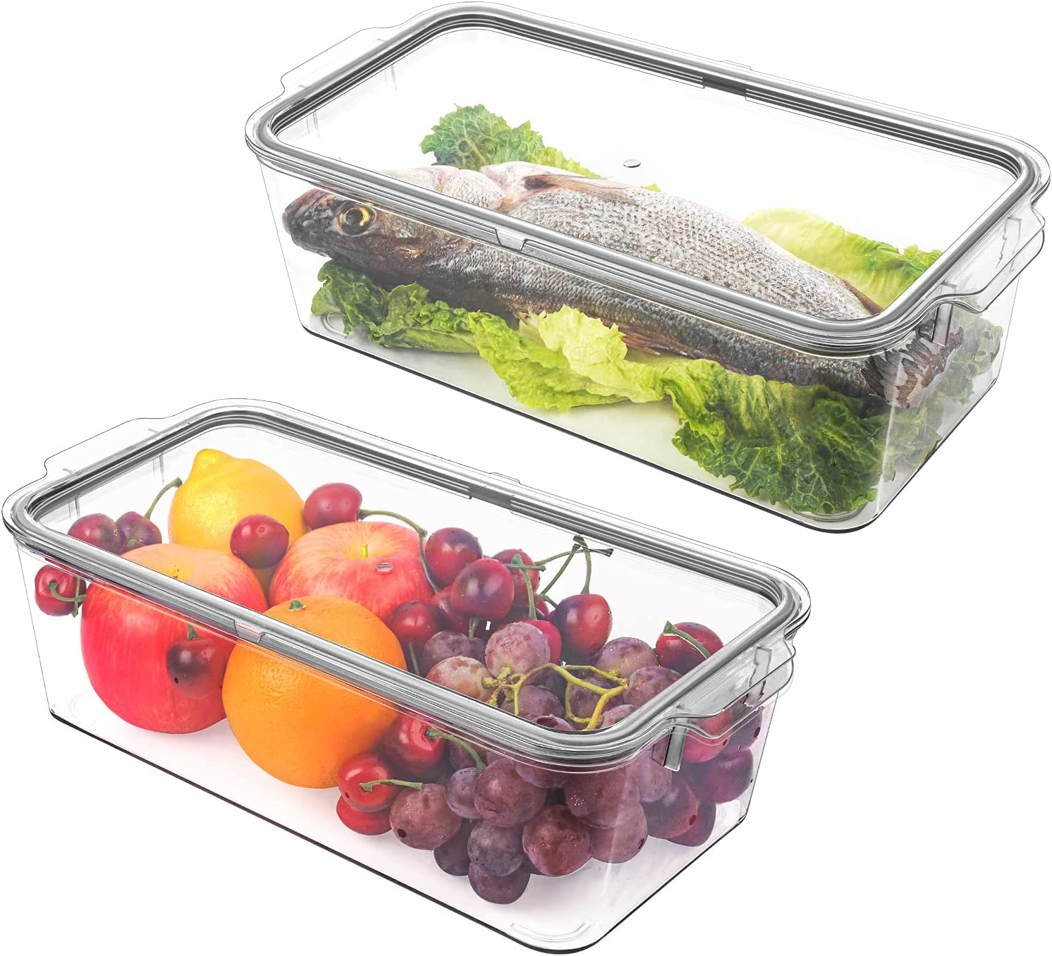 Refrigerator Organizer Bins with Sealing Lid, PET Airtight Large Clear Stackable Food Storage Container Set with Handles, GLSOGL 2 Pack Plastic BPA Free Pantry Organization for Fridge, Freezer