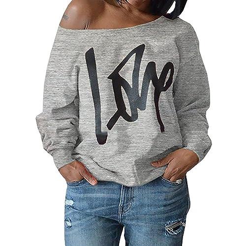 5e45eb7c5 Womens Off Shoulder Pullover Sweatshirt Love Letter Printed Large Light Grey