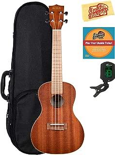 Kala KA-CE Satin Mahogany Concert Acoustic-Electric Ukulele Bundle with Hard Case, Tuner, Austin Bazaar Instructional DVD, and Polishing Cloth
