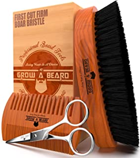 Beard Brush 100% Pure Firm Boar Bristles | Giveaway Dual Action Comb & Mustache Trimming Scissors Presented in Premium Gif...