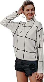 Miessial Women's Casual High Neck Plaid Sweater Pullover Long Sleeve Winter Loose Jumper Tops