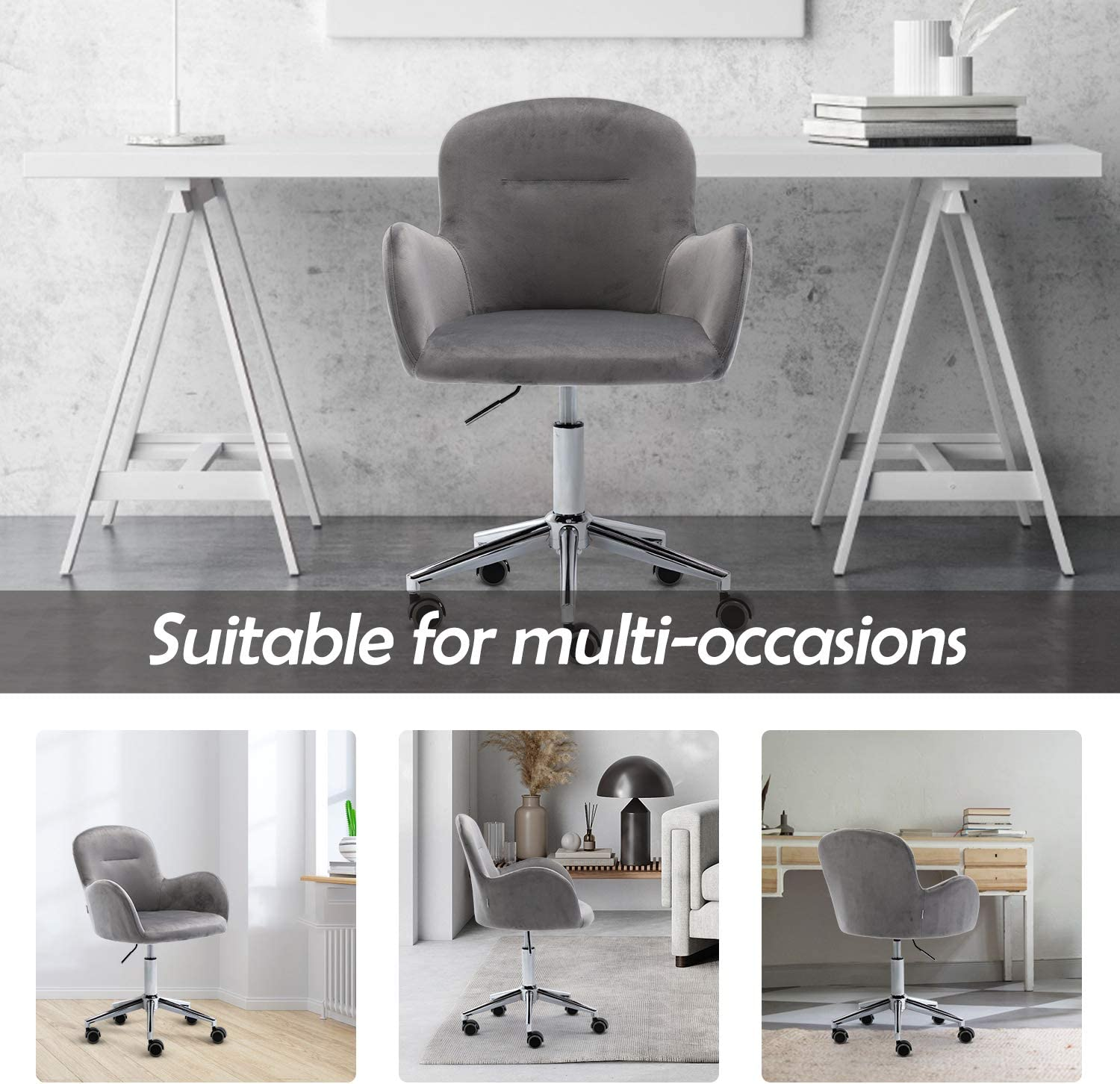 Modern Design Chair with Soft Seat for Living Room Beige Home Chair with Metal Base and Arms ARCTICSCORPION Velvet Desk Chair Office Adjustable Height Swivel Shell Chair Bedroom