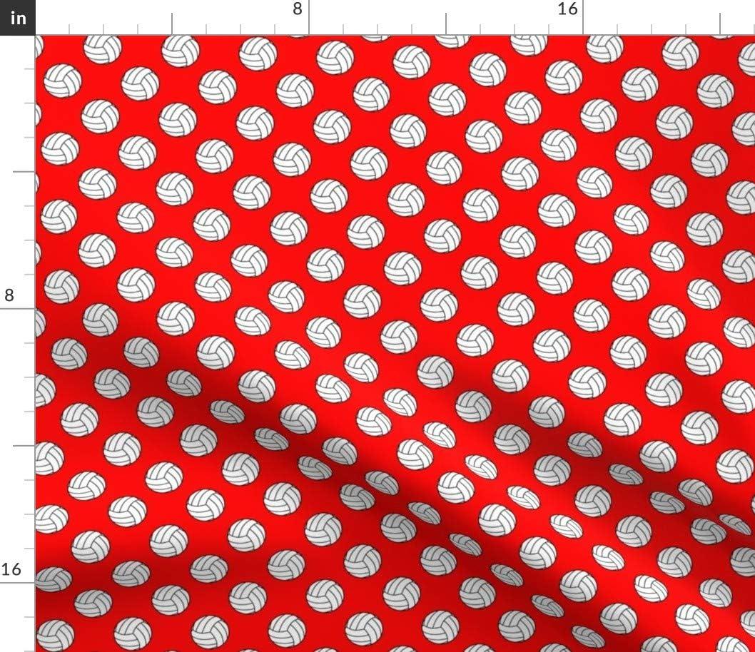 Spoonflower Fabric - Black White Red Volleyba ☆新作入荷☆新品 Volleyballs 年中無休 Volley