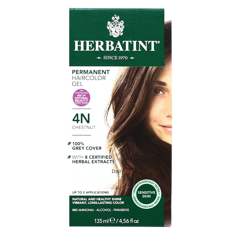 Herbatint 4N Permanent Herbal Light Haircolor Popular brand Chestnut Gel - Kit excellence
