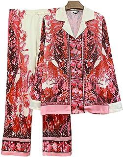 Pijama Mujer PrimaveraPijamas De Moda Nacional Retro para Mujer, Pijamas Rojos De Manga Larga con Estampado De Fénix, Ropa De Dormir De Primavera Y Otoño